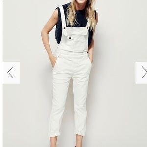 Free people white skinny overalls